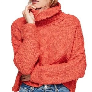 Free People Big Easy Cropped Cowl Neck Sweater NWT